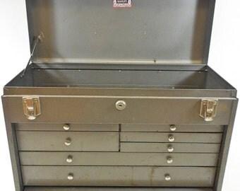 Vintage Industrial Metal Kennedy No. 520 Machinist Tool Chest Storage Box