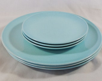 "Taylor Smith Taylor Pebbleford Turquoise 10"" Dinner Plates & 6.6"" Dessert Plates"