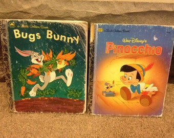 Vintage little golden books, bugs bunny and Pinocchio