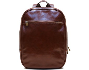 Floto Firenze Leather Backpack in Brown Full Grain Calfskin Leather (141308BROWN)