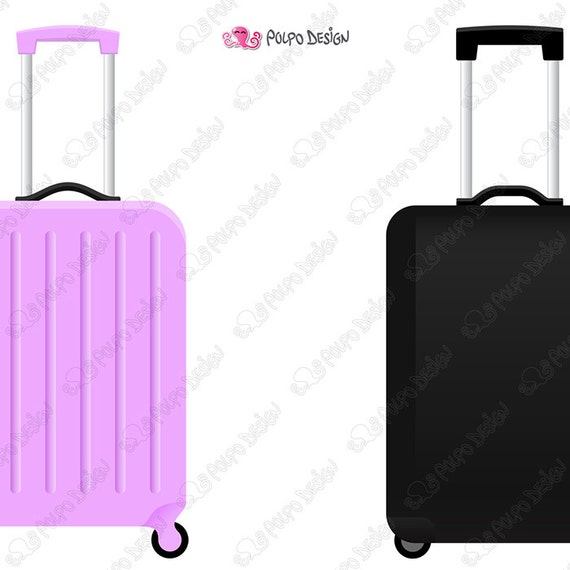 rolling suitcase clipart digital rolling luggage clipart Airplane Clip Art Luggage Clip Art Black and White