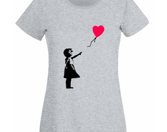 Womens T-Shirt with Banksy Girl with Heart Balloon / Lonely Girl on Shirts / Romantic Love Tee Shirt + Free Random Decal Gift