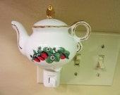 Night Light, Teapot, Strawberry, Porcelain Ceramic Pottery,  Hand Painted & Kiln Fired
