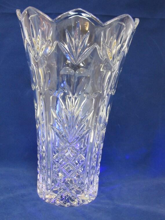 Clear Heavy Crystal Vase Crystal Vase Scalloped Edge Pineapple