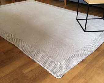 PROMOTION! Many colors and sizes Hand Knitted Rectangle Rugs scandinavian cotton tapis tricote teppich nursery rug carpet houseware