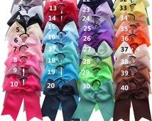 3-40 pcs sets,8 inch Cheer Bows WITH Elalstic Loop,40 Colors Available,Cheer leading bows,Large hair bows, Baby/Girl Hair bows,Hair Ribbons