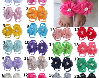 Baby Barefoot Sandal  Newborn Sandals  Infant Toddle barefoot sandals  Baby Shoes  Photography Props  First walk Chiffon flower accessories