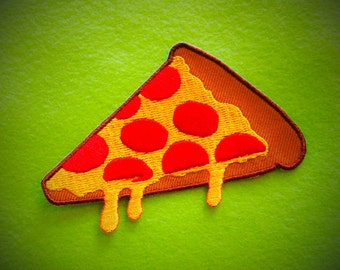 Eat Fast Pizza Slice Embroidered Patch