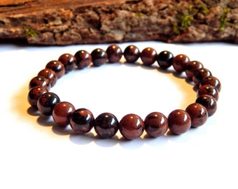 Bracelet obsidien stones brown / black ethnic style