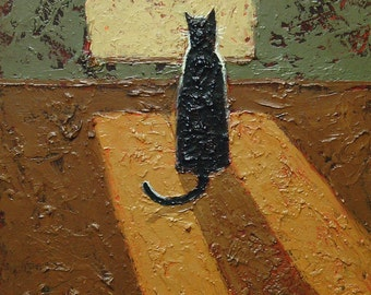 Black Cat Looking Out of the Window. Fun Cradled Board Oil Painting