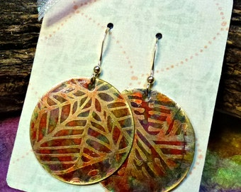 Handcrafted Etched Brass Earrings #70285