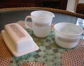 Pyrex Woodland Butter Dish, Sugar Bowl and Creamer