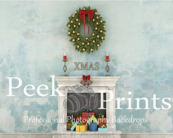 9ft.x7ft. Vintage Christmas Fireplace Photography Backdrop- Perfect for the Holidays! - Christmas Backdrop- Christmas Background