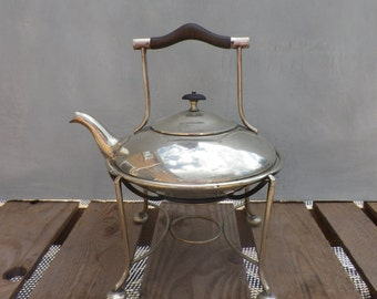 Art Nouveau Silver Plated Spirit Kettle on Stand Silver Plate Kettle