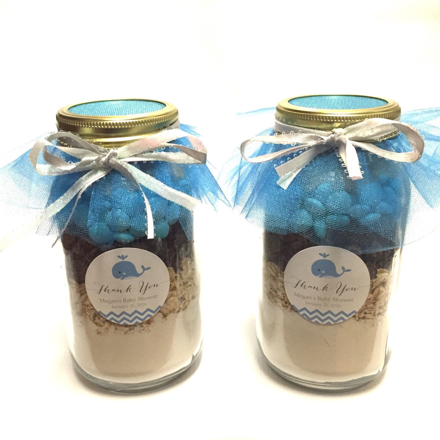 Blue Whale Layered Mason Jar Gourmet Cookie Mix Baby Shower