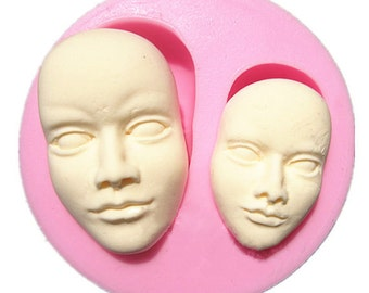 Human face mold Mould Fondant Cake Doll Toy Making Cookie Silicone Baking or Clay