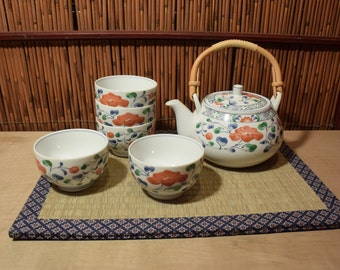 Vintage Japanese Porcelain Tea Set  With 5 Cups Red Camellia