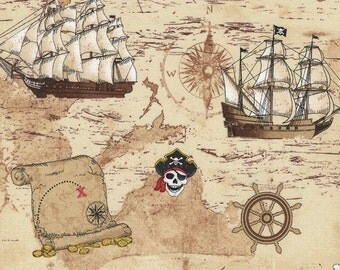Pirate's Map and Ships on Beige cotton fabric, by Timeless Treasures