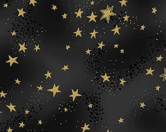 Laurel Burch, Metallic Stars on Black cotton fabric, Enchantment, by Clothworks