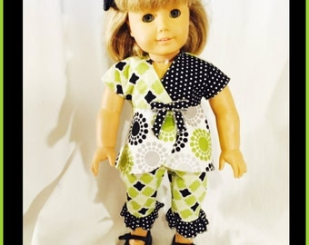 "18"" Doll Clothes Outfit, American Girl inspired, Capri Pants Top"