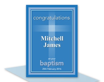 Personalised Baptism or Christening card for boy name religious name card for baby, edit name blue blank inside or personalised edit message