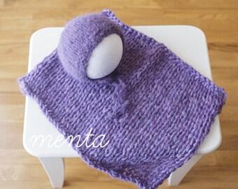 Newborn bonnet + blanket (Purple)
