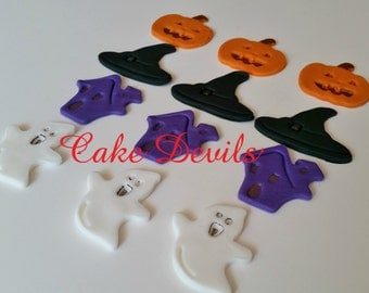 Halloween Fondant Cupcake Toppers, Fondant Witch Hat, Fondant Ghost, Pumpkin Topper, Haunted House cupcake Topper Halloween Cake Decorations