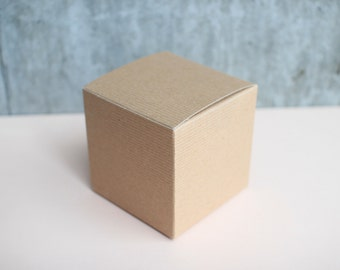 "4"" x 4"" x 4"" Kraft Brown Cube Gift Boxes - 10 Pack - perfect for Candles, Wedding Presents, Favors, Bombonieres"