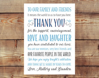 Printable Wedding Reception Thank You Card Digital File