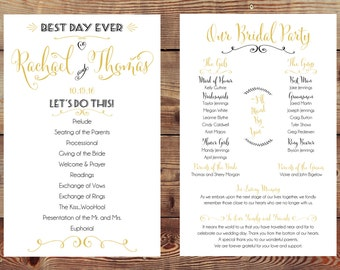 Custom Printable Double-Sided Wedding Program Digital File