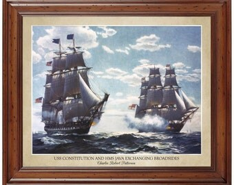 USS Constitution and HMS Java Exchanging Broadsides; 16x20 print displaying the artist's name and title of painting