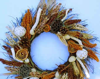 Fall Silk Floral Deluxe Natural Twig Wreath , Organic Wreath,  Rustic Wreath, Fall Wreath