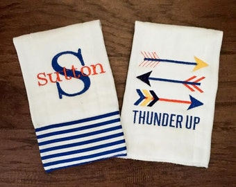 Burp Cloth. Baby Burp Cloth. Cloth Diaper Burpcloth. Diaper Burpcloth- OKC Thunder - set of two - Baby Shower- Baby Gift - Newborn