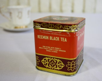 Vintage Rare Orange, Brown + Gold Metal Square Tin for Loose Leaf Keemum Black Tea | Empty Tin and Lid from Shanghai China