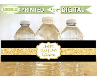 Black and Gold Water Bottle Labels, Gold Water Bottle Labels, Black and Gold Party Decoration, Gold Birthday Decoration,  LemonBells, WP05
