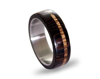 Titanium Mens Ring with Wenge Wood and Zebrano Wood Inlay, Mens Ring, Womens Ring, Mens Band