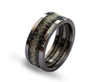 Deer Antler Ring, Antler Jewelry, Titanium Ring, Mens Titanium Weidding Band Inlaid With Deer Antler