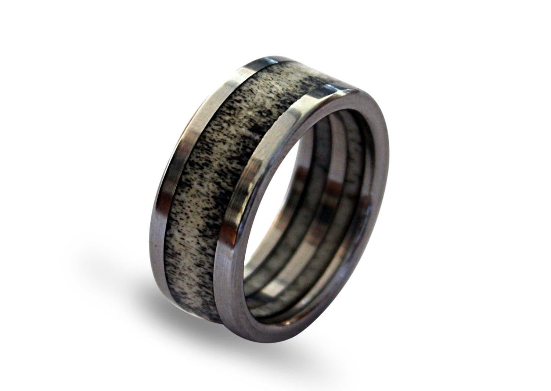 Deer Antler Ring Antler Jewelry Titanium Ring Mens Titanium