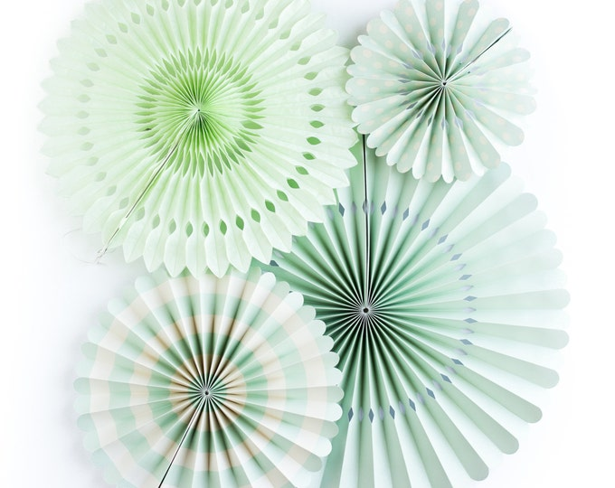 Party Fans in Mint | Mint Pom Wheel | Rosettes | Paper Medallions | Mint and Ivory Paper Fans | Paper Pinwheel