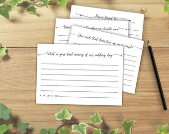 Wedding Question Cards for Guests, Advice Cards for Guests, Wedding Questionnaire, Printable Download
