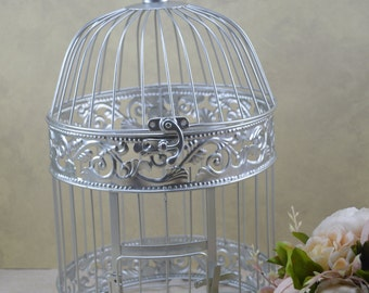 B002S Silver Wedding Birdcage Centerpiece or Wishing Well , Wedding Advice Box. Wedding Decor.