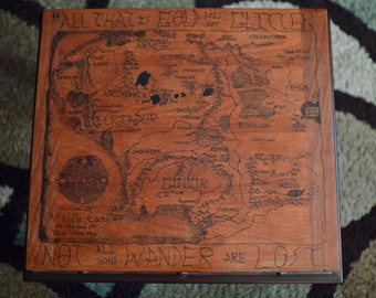 Wood-Burned Lord of the Rings Map of Middle Earth Coffee Table
