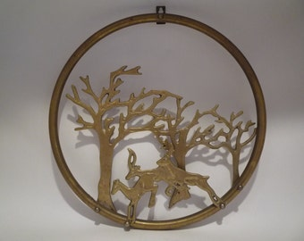 Vintage Brass Deer Stag Trees Wall Decor