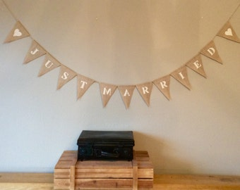 JUST MARRIED Wedding Hessian Vintage Bunting Burlap Banner