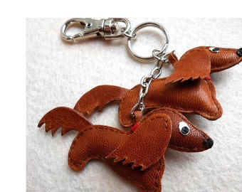 Keychain, charm, Dachshund,  leather keychain, leather Dachshund, accessories for bag, leather accessories, red brown, slavastudio