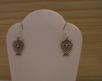 Silver Tone Owl Charm Dangle Earrings
