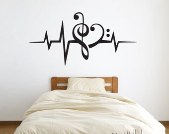Heartbeat music lover, wall decal, heart decal, music decal stickers, music decor, heartbeat pulse, heart decor, music gifts, music wall art