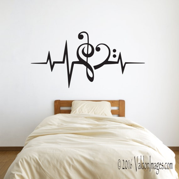 Heartbeat music note wall decalmusic wall decor by