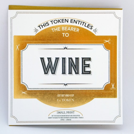 Wine Token Card, gift token, greetings card token, funny card, Funny birthday card