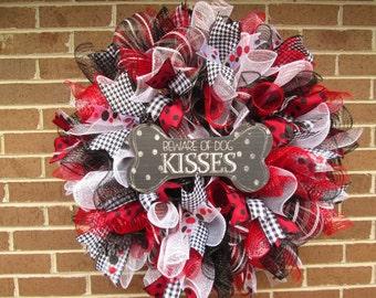 Dog Wreath, Dog Kisses Wreath, Dog Deco Mesh Wreath, Doggie Wreath, Dog Door Wreath, Dog Kisses Wreath, Doggie Kisses Wreath